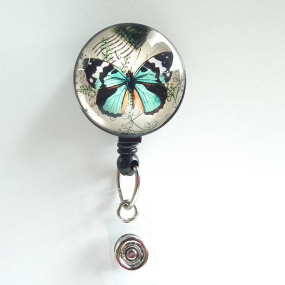 Blue Butterfly Badge Reel  on White Background - Name Badge Holder 99 - Plum Beadacious