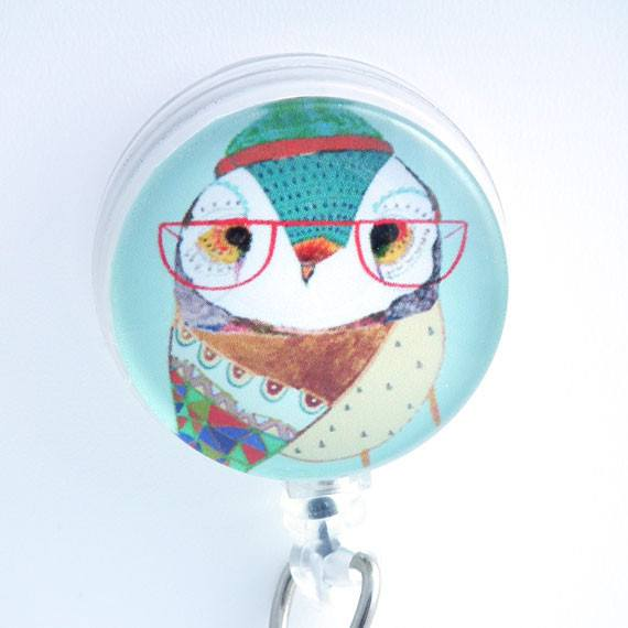 Lady Owl with Glasses Bird Badge Reel - Blue - Retractable ID Badge Holder 106 - Plum Beadacious
