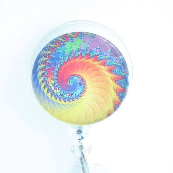 Psychedelic Swirls Yellow Orange Blue Cabochon Retractable Badge Reel - ID Pull 147 - Plum Beadacious