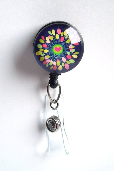 Retractable ID Badge Reel Heart Bright Design on Black - Name Badge Holder 73 - Plum Beadacious