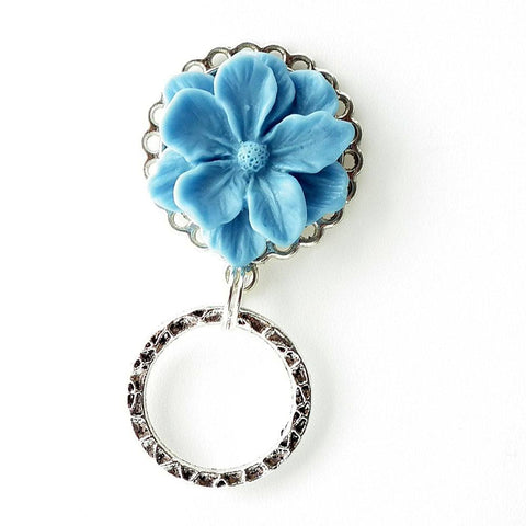 Magnetic Eyeglass Holder - Soft Blue Resin Flower Cabochon on Silver Filigree Pendant Tray