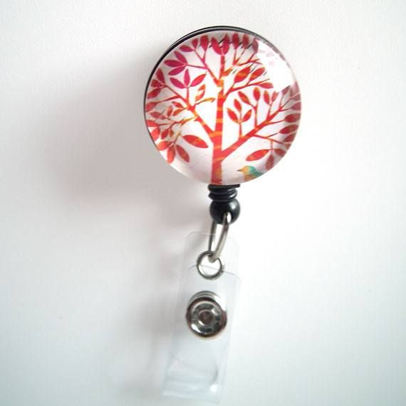 Retractable ID Badge Reel - Red Tree on White - Name Badge Holder 63 - Plum Beadacious