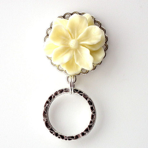 Magnetic Eyeglass Holder - Ivory Resin Flower Cabochon on Silver Filigree Pendant Tray - Plum Beadacious
