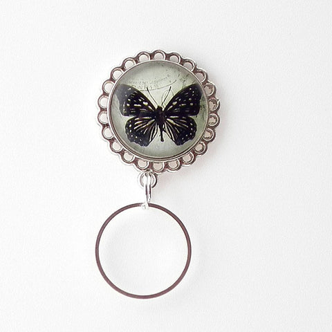 Magnetic Eyeglass Holder - Black Butterfly on Postcard - Glass Dome Cabochon-EH06