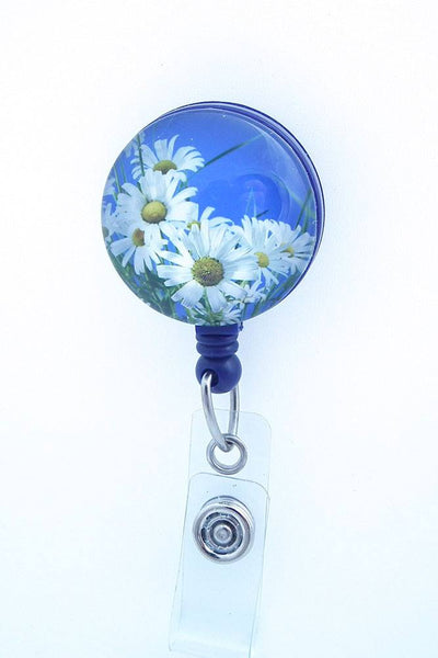 Magnetic Badge Holder - White Daisies on Blue Badge Reel - Flower Badge Reel - Plum Beadacious  - 2