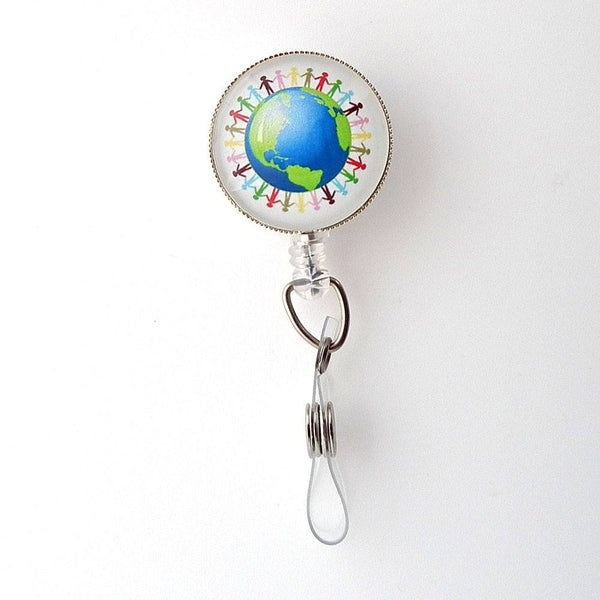Retractable ID Badge Reel -Hands Around the World Badge Holder, 270 - Plum Beadacious