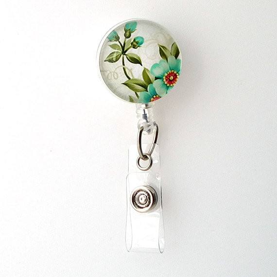Light Blue Blossoms Flower Badge Reel, Retractable ID Badge Holder, Name Badge Reel 271 - Plum Beadacious