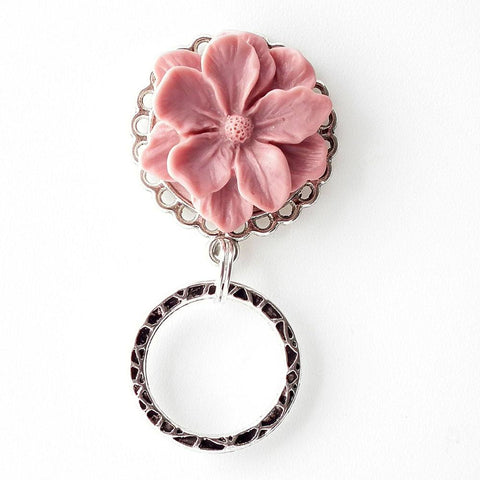 Magnetic Eyeglass Holder - Soft Pink Resin Flower Cabochon on Silver Filigree Pendant Tray