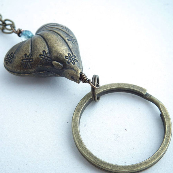 Antiqued Brass Heart and Chain ID Badge Lanyard, Blue Green Stone Beads - Plum Beadacious