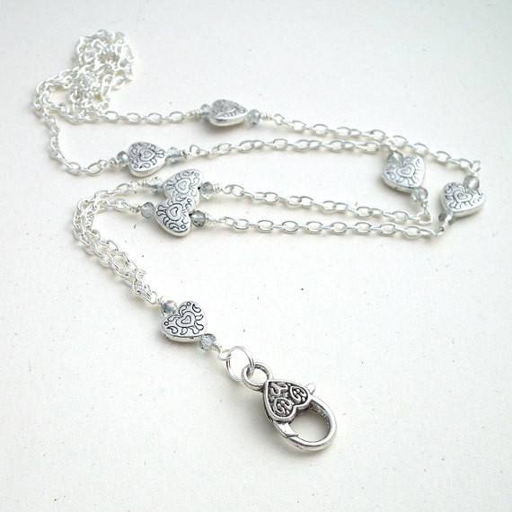 Simple Silver Heart Chain ID Badge Lanyard, Crystals Heart Clasp - Plum Beadacious