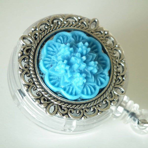 ID Badge Reel: Bright Blue Flower Cabochon on Silver Filigree Round - Alligator Clip - Plum Beadacious  - 2