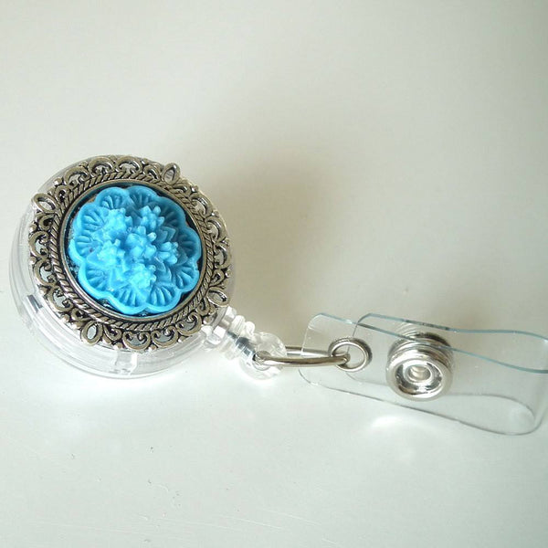 ID Badge Reel: Bright Blue Flower Cabochon on Silver Filigree Round - Alligator Clip - Plum Beadacious  - 3