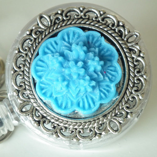 ID Badge Reel: Bright Blue Flower Cabochon on Silver Filigree Round - Alligator Clip - Plum Beadacious  - 5