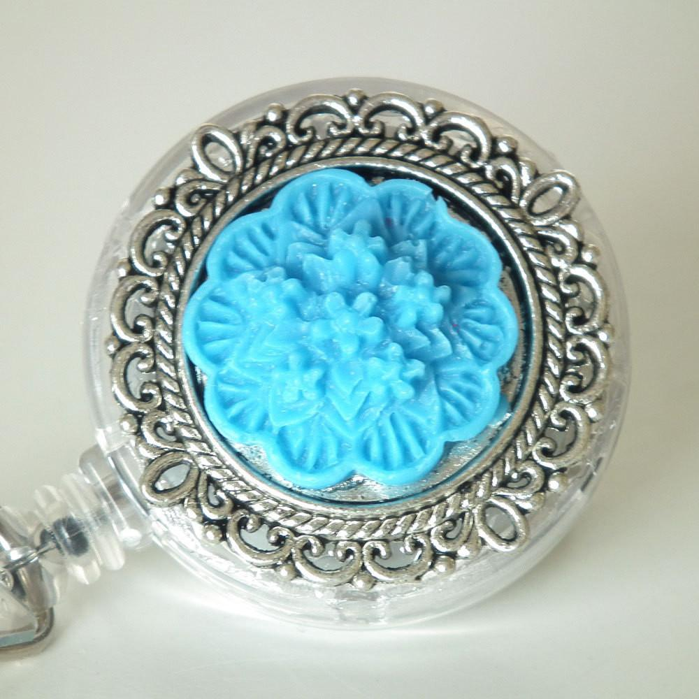 ID Badge Reel: Bright Blue Flower Cabochon on Silver Filigree Round - Alligator Clip - Plum Beadacious  - 1