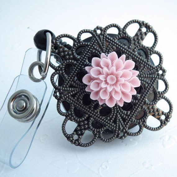 ID Flower Badge Reel:Pale Pink Flower Cabochon on Black Filigree - Belt Clip - Plum Beadacious