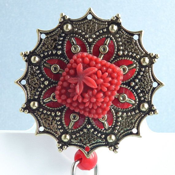 ID Flower Badge Reel: Red Square Flower Cabochon on Antiqued Brass Filigree, Red Reel - Belt Clip - Plum Beadacious