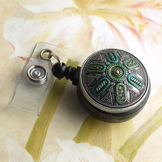 Magnetic Retractable ID Badge Reel Silver Metallic Blue and Green on  Black Badge Reel - Plum Beadacious