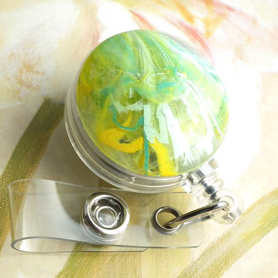 Lime Green and Yellow Button Badge Reel - Name Badge Holder 23 - Plum Beadacious