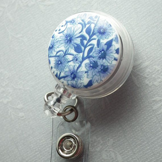 Magnetic Retractable ID Badge Reel Blue Flowers on White Cabochon on Clear Badge Reel - Plum Beadacious