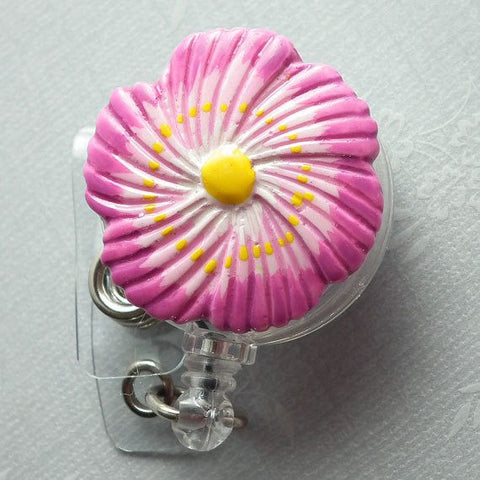 Retractable ID Badge Reel - Bright Pink and White Flower Badge Reel 30