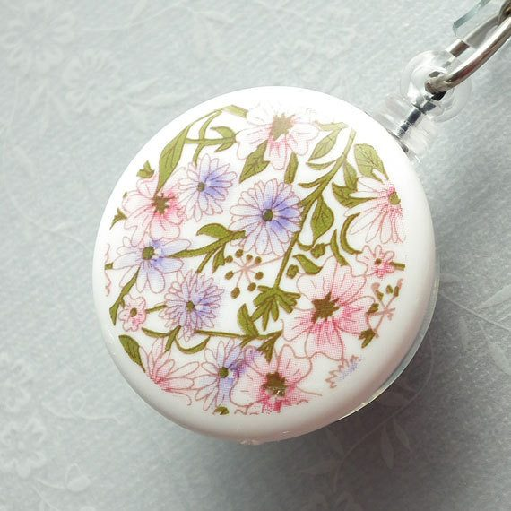 Magnetic Retractable ID Badge Reel Spring Flower Cabochon on Clear Badge Reel - Plum Beadacious