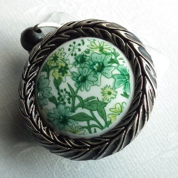 Magnetic Retractable ID Badge Reel, Green and White Floral Cabochon Framed in Antiqued Silver on Black Badge Reel - Plum Beadacious