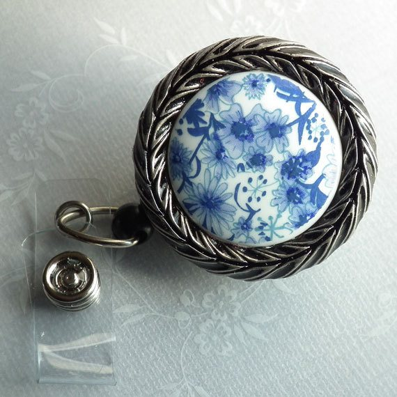 Magnetic Retractable ID Badge Reel, Blue and White Floral Cabochon Framed in Antiqued Silver on Black Badge Reel - Plum Beadacious