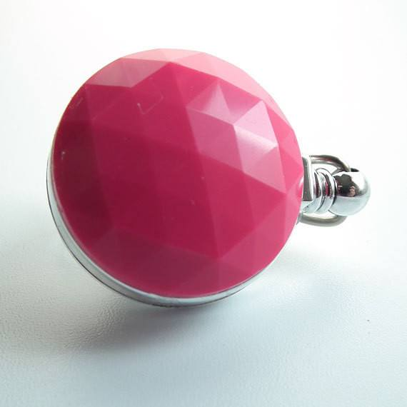 Hot Pink Faceted Button - Chrome Magnetic Retractable ID Badge Reel - Plum Beadacious