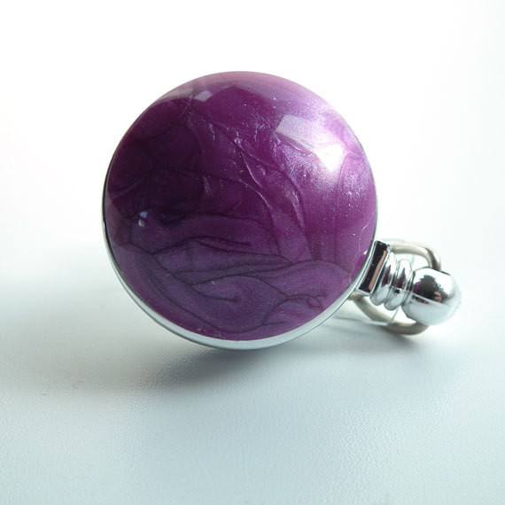 Purple Swirl Chrome Magnetic Retractable ID Badge Reel - Plum Beadacious