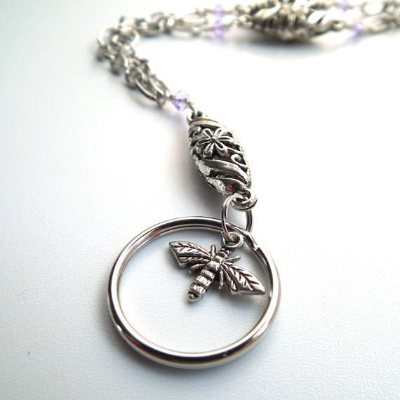 Silver Bee, Silver Chain, Silver Flower Beads Alexandrite Crystals ID Badge Lanyard - Plum Beadacious