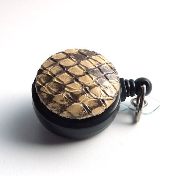 Brown Snake Skin Print Magnetic Retractable ID Badge Reel - Plum Beadacious