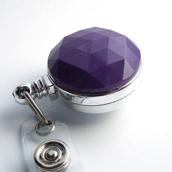 Purple Faceted Chrome Magnetic Retractable ID Badge Reel - Plum Beadacious