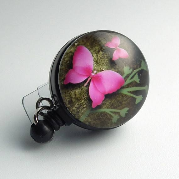 Pink Butterfly on Black Retractable ID Badge Reel - Name Badge Holder 62 - Plum Beadacious