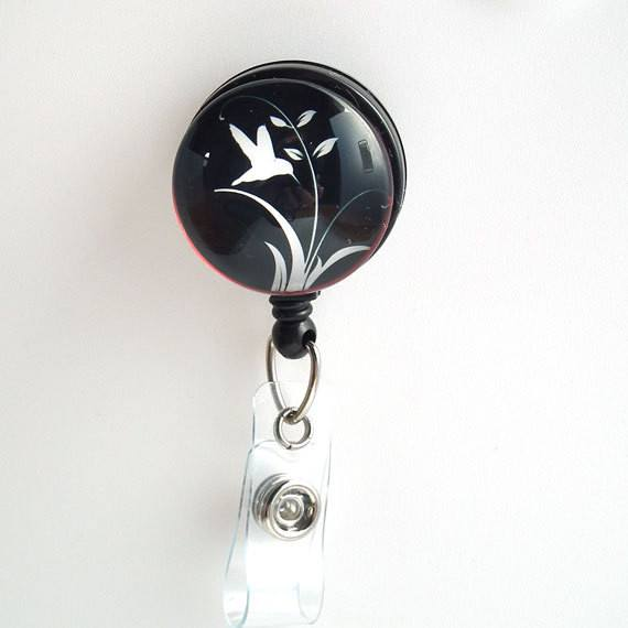 White Bird on Black Cabochon Retractable ID Badge Reel - Name Badge Holder 31 - Plum Beadacious