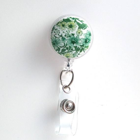 Magnetic Retractable ID Badge Reel Green Flowers on White Cabochon on Clear Badge Reel - Plum Beadacious