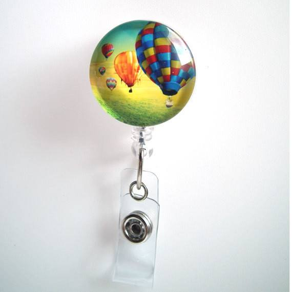 Colorful Hot Air Balloons Badge Reel - Name Badge Holder 60 - Plum Beadacious