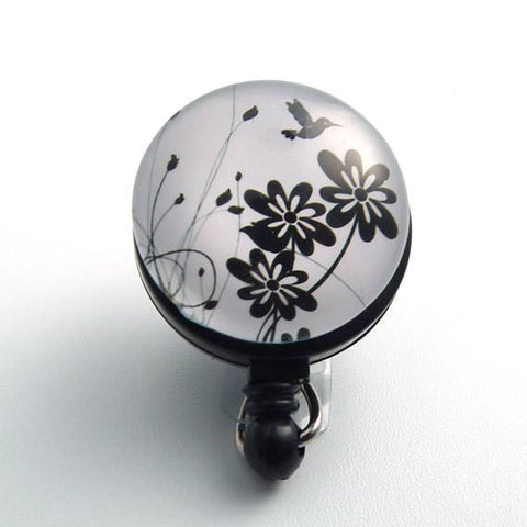 Black Bird and Flowers on White Background -Bird  Badge Reel 57 - Plum Beadacious