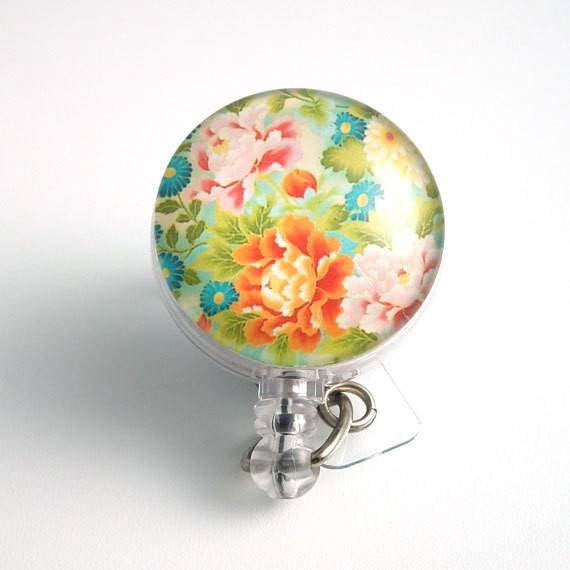 Bright Colorful Flower Badge Reel - Retractable ID Badge Holder 66 - Plum Beadacious