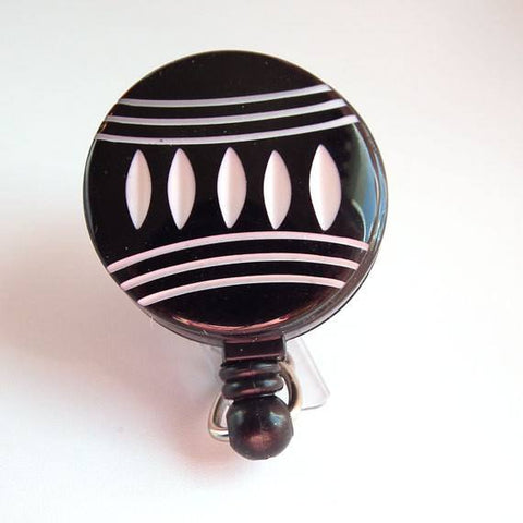 Black Off White Geometric Button Badge Reel - Name Badge Holder 52