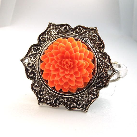 Magnetic Retractable ID Badge Reel Orange Flower Cabochon on Silver Filigree Backing on Clear Badge Reel - Plum Beadacious
