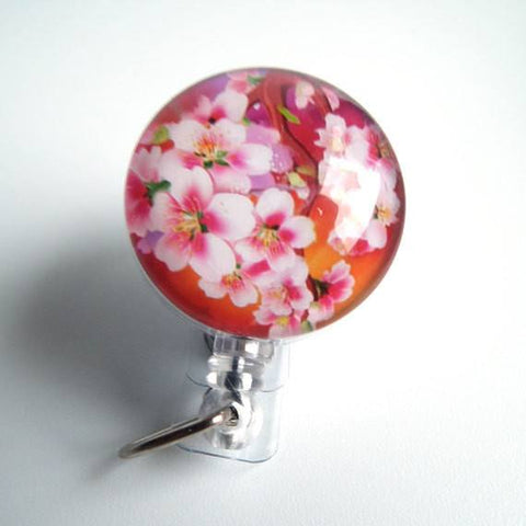 Cherry Blossom Flower Badge Reel - Retractable ID Badge Holder 72 - Plum Beadacious