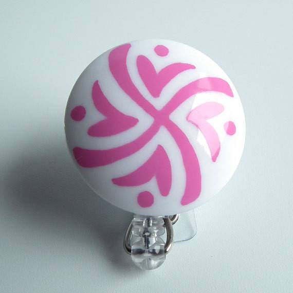 Magnetic Retractable ID Badge Reel White Acrylic with Pink Hearts and Swirls on Clear Badge Reel - Plum Beadacious