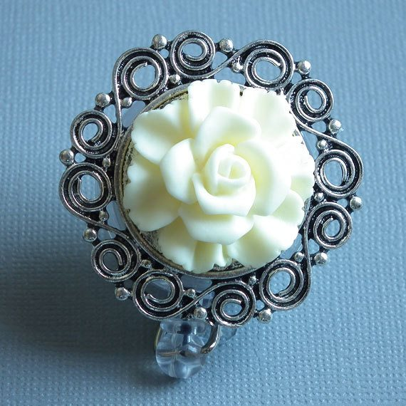 White Rose Flower on Silver Filigree Cabochon Chrome Badge Reel - Magnetic Retractable - Plum Beadacious