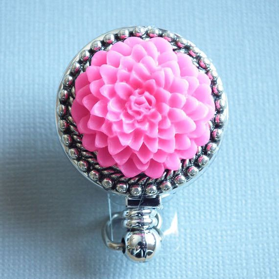 Bright Pink Flower on Silver Cabochon Chrome Badge Reel - Magnetic Retractable - Plum Beadacious