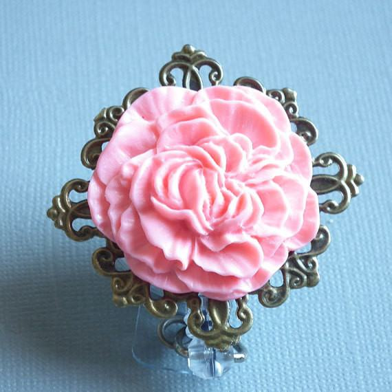 Peachy Pink Carnation on Antiqued Brass Filigree Cabochon ClearBadge Reel - Magnetic Retractable - Plum Beadacious