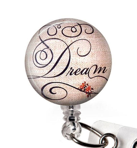 Dream Glass Dome Retractable ID Badge Reel, Name Badge Holder 291 - Plum Beadacious