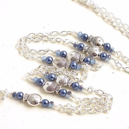 Cute Silver Metal Fish Beads - Silver Chain ID Badge Lanyard Blue Pearls and Crystals - Plum Beadacious