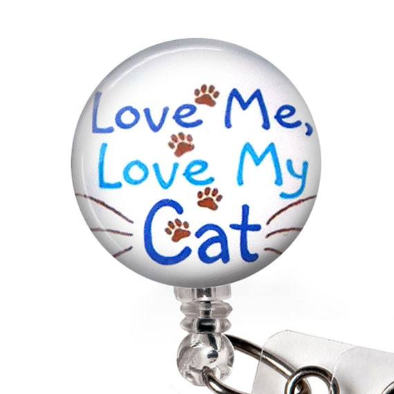 Love Me Love My Cat Glass Dome Retractable ID Badge Reel, Name Badge Holder 290 - Plum Beadacious
