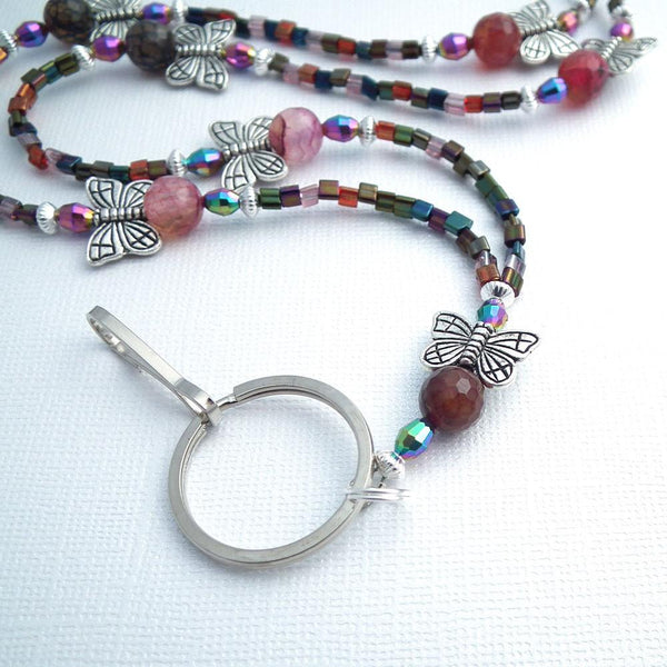Butterfly and Agate Beaded Lanyard - Silver Butterflies, Pink and Purple Agates - Plum Beadacious  - 1