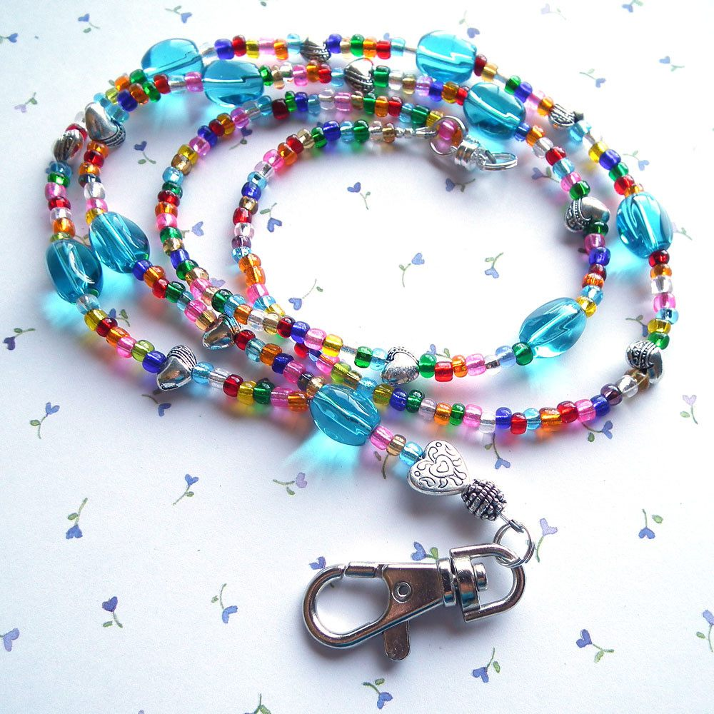 Bright Colors - Multicolor Beaded Lanyard with Hearts, Rounded Lanyard Clasp - Plum Beadacious